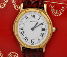 Cartier Santos unisex 18k gold oval watch ultrathin mechanical New Old Stock