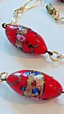 "Venetian Murano Wedding Cake Beads Necklace Gold tone Chain 17"""