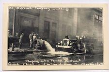 CT Postcard Hartford Conn Vintage Fire Dept March 1936 Pumping Out Basement