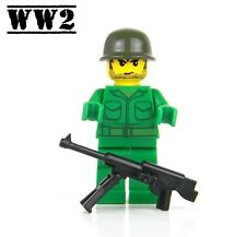 US Army WW2 minifigure Soldier made with real LEGO® Johnson Machine Gun