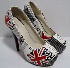 MING YUAN High Heel British Flag Union Jack Platform Shoes Pump EU 38 US 7.5