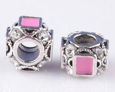 2pcs 925 Silver Painted pink CZ big hole Beads Fit European Charm Bracelet A#897