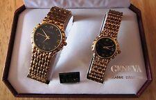 Men's & Women's GENEVA Classic Collection Quartz Gold Toned Watch Set NIB $250
