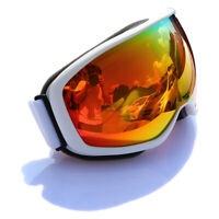 Snow Ski Goggles Anti-Fog Double lens UV Protection White Frame