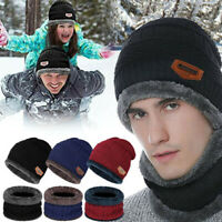 Men Winter 2-pcs Set Beanie Hat Scarf Fleece Lined Skull Cap Warm Windproof UK