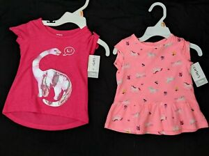 Lot Of Two  Infant Girls Carters T-shirts Size 12 Months Unicorn/ Dinosaur NEW