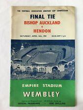 More details for 1955 fa amateur cup final bishop auckland v hendon football programme