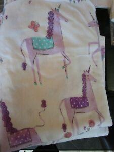 Pottery Barn Kids Magical Unicorn flannel full sheet set lavender photo shoot