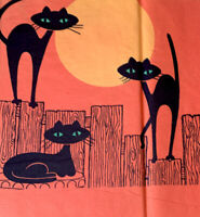 "1 Rare Vintage Three Black Cats Green Eyes Moon Halloween Crepe Paper 10x13""in"