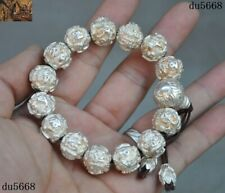 93 g Tibet Buddhism 999 Pure Silver Om Mani Padme Hum amulet Bracelet Hand chain