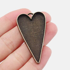10 X Antique Bronze Large Heart Pendant Trays Blank Bezel Cameo Setting Base