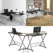 "60"" L-Shape Corner Computer Desk Wooden Home Office Study Workstation CPU Stand"
