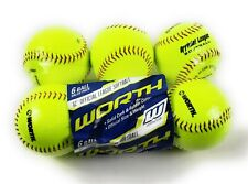 Practice Softballs 6 Pk 12 Inch Slow Pitch Official League Yellow Cover .44 Cor