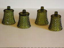4 Homco Green Votive Cups Candle Holders Diamond Cut Christmas