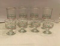 SET OF 8 LIBBEY'S ARBY'S HOLLY BERRY WATER WINE HIGHBALL GLASSES GOBLET GOLD RIM