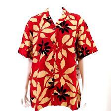 Hilo Hattie Womens Red Burgundy Floral Hawaiian Aloha Print Camp Shirt Top Sz M