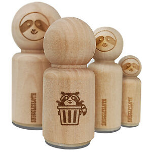 Lively Raccoon in Trash Can Rubber Stamp for Stamping Crafting Planners