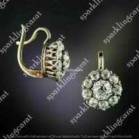 2.0Ct Round Cut Diamond Antique Flower Drop/Dangle Earrings 14k Yellow Gold Fin