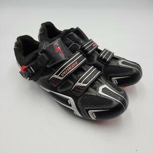 Specialized Men's Sz 13/46 EUR  Bike Cycling 2 Strap Black Red Shoes
