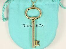 "$3,300 Tiffany & Co XL Keys 18K Yellow Gold Oval 20"" Bead Chain Necklace Pendant"