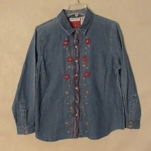 Z8851 Women's Cabin Creek Denim w/ Floral Pattern Button Up Long Sleeve Shirt-PL