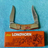 STAR Japan LONGHORN Double Lockback Knife Smooth Bone 1982 Worlds Fair Knoxville