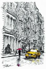 Fire Escapes Study by Loui Jover Art Print Red Umbrella Cityscape Poster 13x19