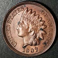 1907 INDIAN HEAD CENT -With LIBERTY & 4 DIAMONDS - AU UNC Details