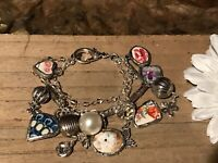 Recycled Broken Porcelain Jewelry, Multi Charm Bracelet (SIZABLE)