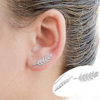 Women Ear Sweep Wrap silver- Lady Ear Climber Leafs Ear Cuffs Earrings 1 pair