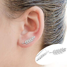 Women Ear Sweep Wrap silver- Lady Ear Climber Leafs Ear Cuffs Earrings 1 pair