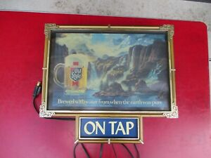 Vintage HEILEMAN Old Style Waterfall Scene Lighted ON TAP Beer Bar Sign ~ Works