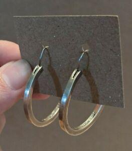 Vintage TAXCO TN-08 Mexico Mexican Sterling Silver 925 HEAVY Hoop Earrings