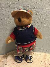 """Golfer Bear Blue Sweater Saddle Shoes Plush 13"""" Lovey Toy"""