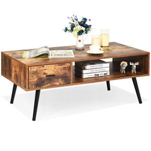 Retro Coffee Table Mid Century Modern Living Room Furniture w/Open Storage Shelf