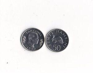 WORLD FOREIGN COINS*AFRICA*TANZANIA*50 senti hamsini 1990* RABBIT *UNC*LOT M26*