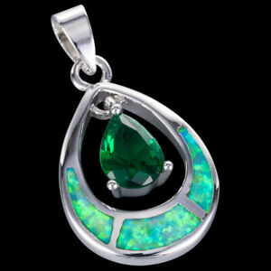 Kiwi Green Fire Opal 6x8mm Pear Emerald Silver Jewellery Pendant for Necklace