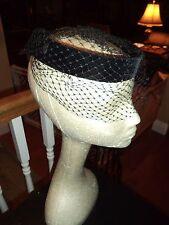 Antique Vintage Black Velvet Headband Hat with Black Veil Netting Steampunk Look