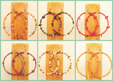 Set of 6 Stone Chip Handmade Beaded BOHO Large Hoop Earrings 6 COLORS Party Pack