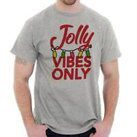 Jolly Vibes Only Christmas Lights Xmas Gift Adult Short Sleeve Crewneck Tee