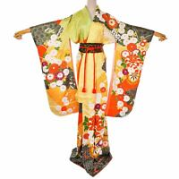 Japanese Vintage silk Orange & Yellow Flower Furisode Kimono /Silk Belt