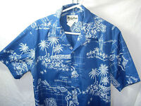 MENS BLUE WHITE HOWIE CASUAL COTTON POLY HAWAIIAN ISLAND ALOHA SHIRT SIZE M 46