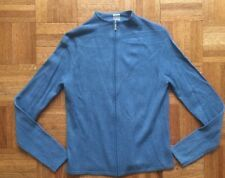 Evelyn Grace 100% Cashmere Sweater ONE Blue  Mock Neck Cardigan Zip Sz S