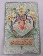 Old Antique 1911 Valentine'S Day Card Girl w/ Purple Bow, Victorian Poem