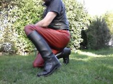 Motorcycle Police Biker Black Fashion Tall Riding Leather Boot Handmade UK 5-12