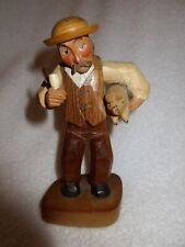 """Vintage Anri Italy Pig Farmer Figure Wood Carved 6.5"""" Black Forest Signed Superb"""