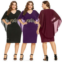 Plus Size Womens Party Dress Sheath Embroidery Capelet Overlay Chiffon Dress