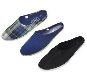 Women's Mule Slip-On Plaid Navy Blue Black Canvas Shoes Sizes 5-10 New