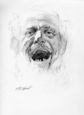 """Listed Artist - Original Charcoal Drawing of """"A Man Shouting"""""""