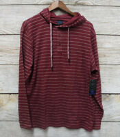 Monument Shirt Mens Size Large Burgundy Hooded Henley Thermal Slim Fit Shirt New